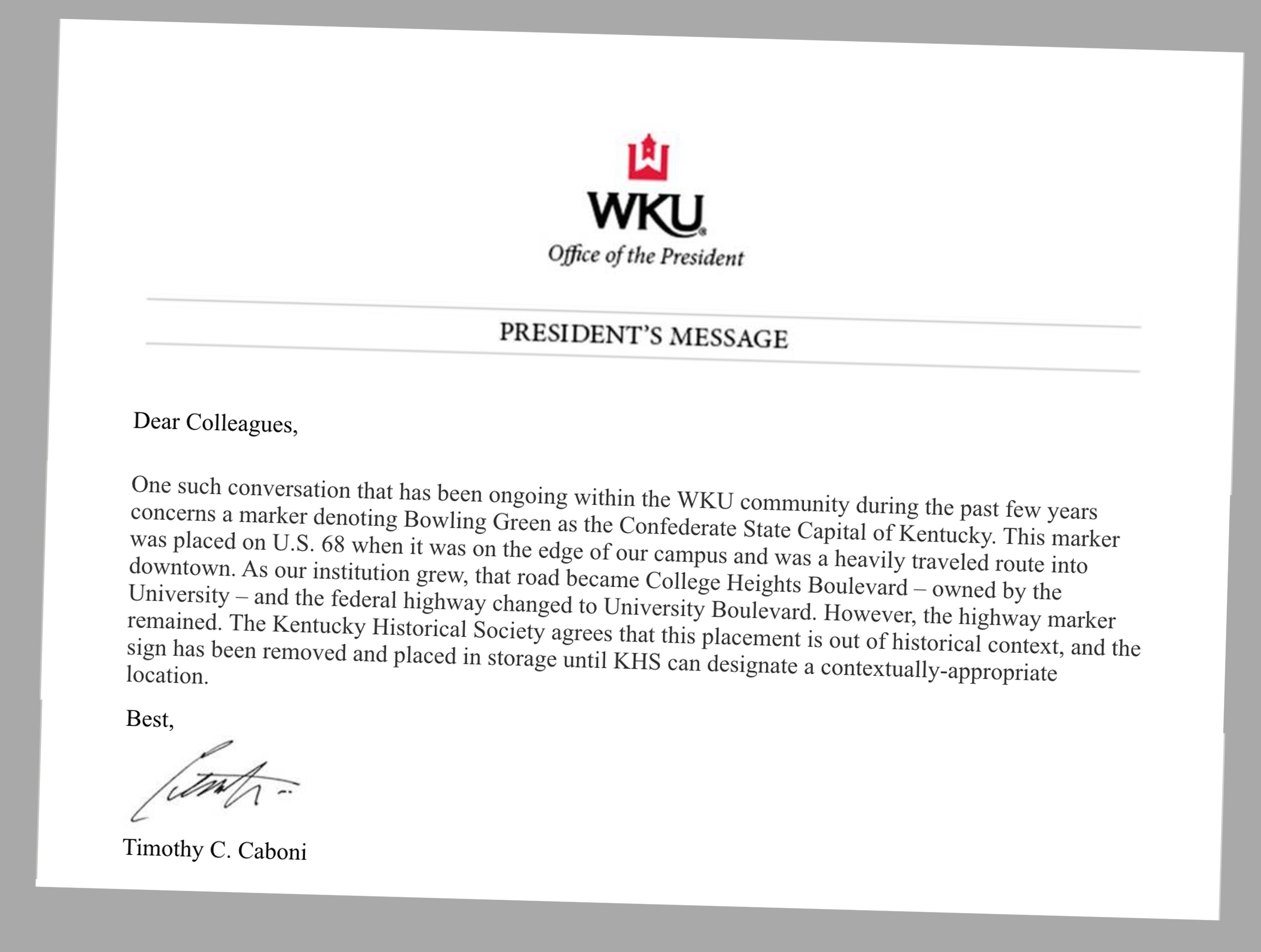 A portion of an email from WKU President Timothy Caboni on August, 21, 2020 to all faculty and staff regarding the removal of a Confederate marker on campus.