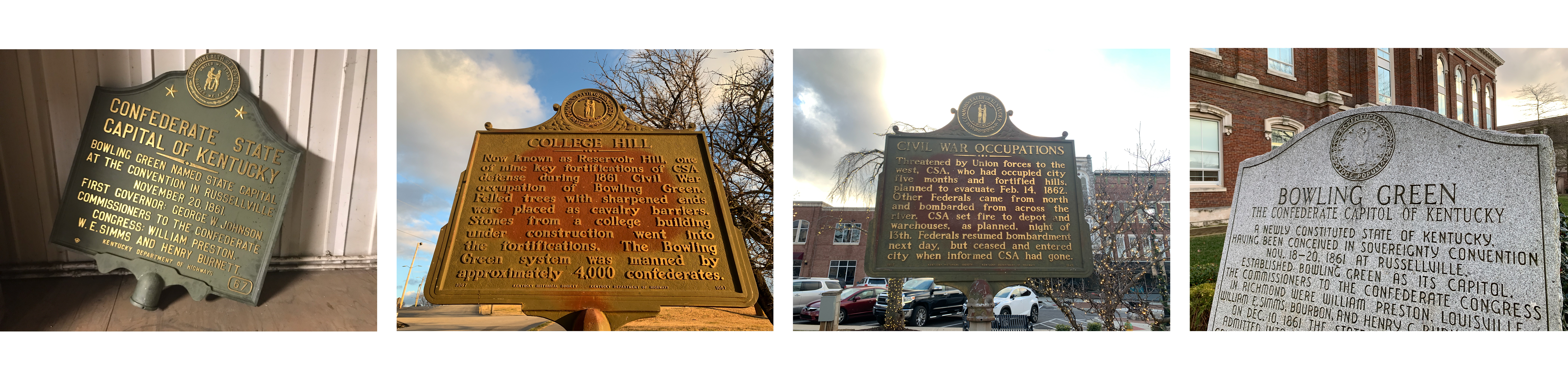 Several Confederate markers in Bowling Green, Kentucky. The leftmost marker was removed from Western Kentucky University's campus in August 2020. (First image courtesy of Kentucky Department of Transportation).